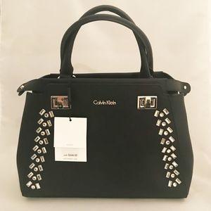 NWT Calvin Klein Black Satchel with Embellishment